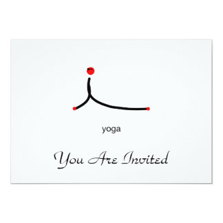 Stick figure of cobra yoga pose with yoga text. 5x7 paper invitation card