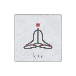 Stick figure of lotus yoga pose with Sanskrit Stone Magnet