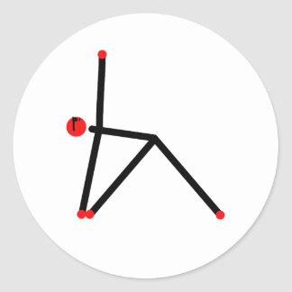 Stick figure of triangle yoga pose. classic round sticker