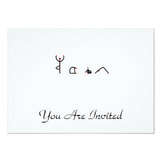 Stick figure of yoga poses spelling YOGA. 13 Cm X 18 Cm Invitation Card