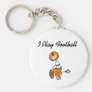 Stick Figure Orange I Play Football Key Ring