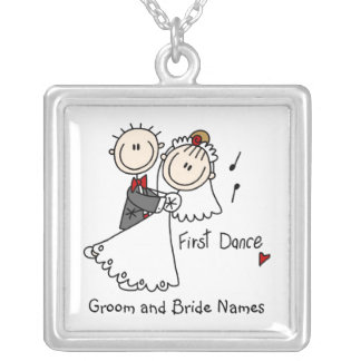 Stick Figure Personalized First  Dance  Necklace
