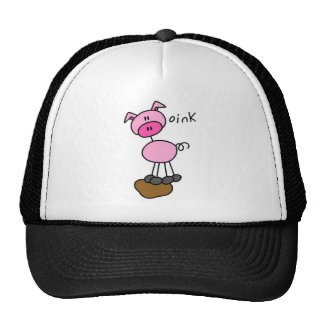 Stick Figure Pig Cap