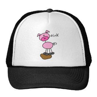 Stick Figure Pig Cap