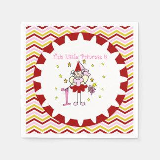 Stick Figure Princess 1st Birthday Paper Napkins