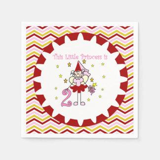 Stick Figure Princess 2nd Birthday Paper Napkins