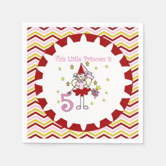 Stick Figure Princess 5th Birthday Paper Napkins
