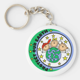 Stick Figure Protect Our Earth T-shirts and Gifts Basic Round Button Key Ring