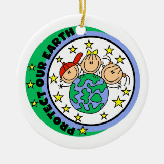 Stick Figure Protect Our Earth T-shirts and Gifts Ceramic Ornament