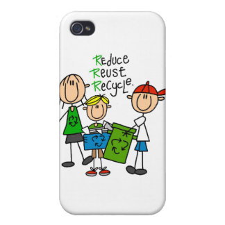 Stick Figure Reduce Reuse Recycle  iPhone 4/4S Cases