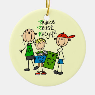 Stick Figure Reduce  Reuse Recycle T-shirts Ornament
