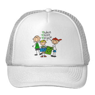 Stick Figure Reduce  Reuse Recycle T-shirts Trucker Hats