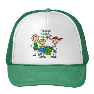 Stick Figure Reduce  Reuse Recycle T-shirts Hat