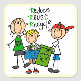 Stick Figure Reduce  Reuse Recycle T-shirts Square Stickers