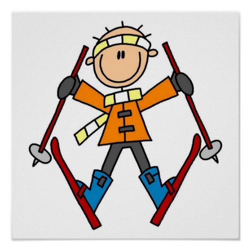 Stick Figure Skier T-shirts and Gifts Print