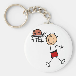 Stick Figure Slam Dunk T-shirts and Gifts Basic Round Button Key Ring