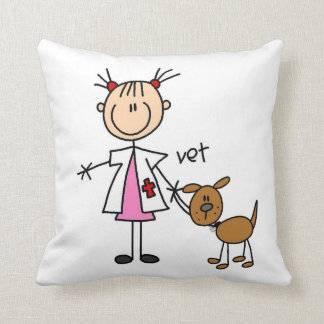 Stick Figure Veterinarian With Dog Throw Pillow