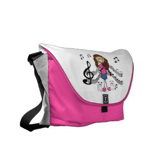 Stick Figure Violin Player Bag Messenger Bag