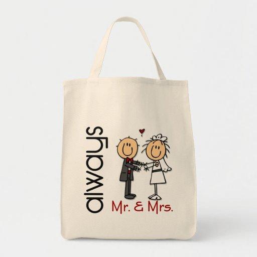 Stick Figure Wedding Couple Mr. & Mrs. Always Canvas Bag