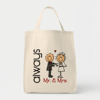 Stick Figure Wedding Couple Mr. & Mrs. Always Grocery Tote Bag