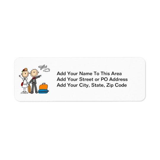 Stick Figure Wedding Honeymoon T-shirts and Gifts Return Address Label
