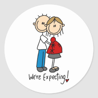 Stick Figure We're Expecting Classic Round Sticker