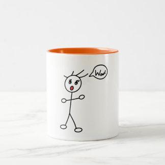 Stick Figure WoW Surprised Black and White Two-Tone Mug