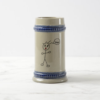 Stick Figure WoW Surprised Black and White Beer Steins