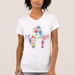 Stick Figures Crayons Teacher Tshirts and Gifts