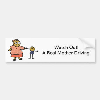 Stick Figures of Mother and Child for Mother's Day Car Bumper Sticker