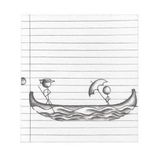 Stick Figures on a Gondola Boat Notepad
