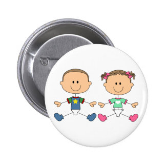STICK FRATERNAL TWINS 6 CM ROUND BADGE
