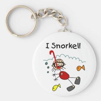 Stick Girl I Snorkel Basic Round Button Key Ring