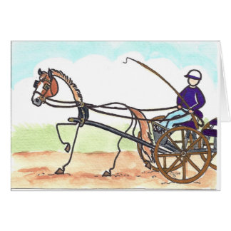 STICK HORSE Carriage Driving Greeting Card