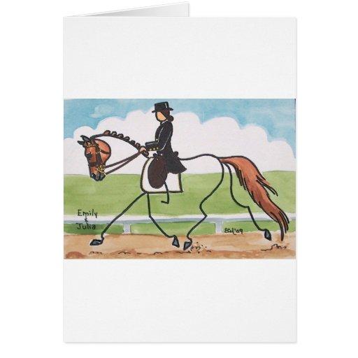 STICK HORSE Chestnut Dressage Trot Cards