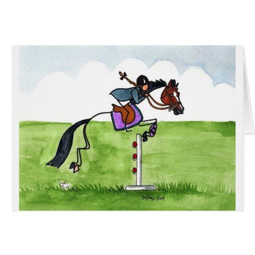 STICK HORSE Pony Showjumping Greeting Card