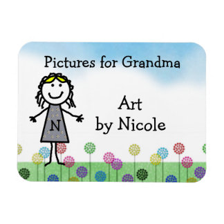 Stick Kid Girl's Personalized Fridge Art Flexi Mag Magnet