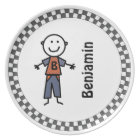 Stick Kids Boy's Personalised Dinner Plate