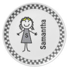 Stick Kids Girl's Personalised Dinner Plate