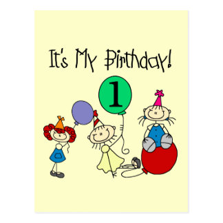 Stick Kids Party 1st Birthday T-shirts and Gifts Postcards