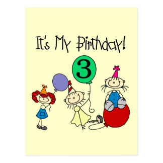 Stick Kids Party 3rd Birthday Tshirts and gifts Postcard