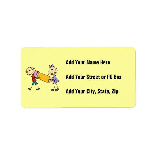 Stick Kids With Pencil Address Label