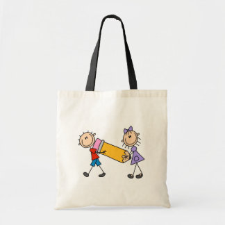 Stick Kids With Pencil Budget Tote Bag