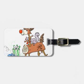 Stick reindeer luggage tag