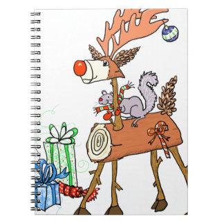 Stick reindeer spiral notebook