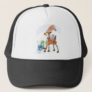 Stick reindeer trucker hat