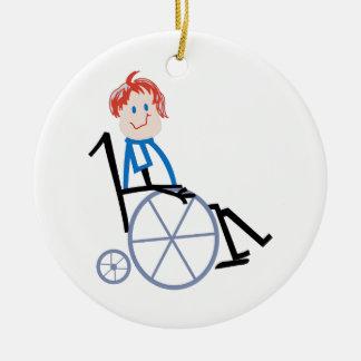 Stick Wheelchair Kid Ceramic Ornament