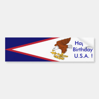 Sticker American Samoa, Happy Birthday U.S.A.! Car Bumper Sticker