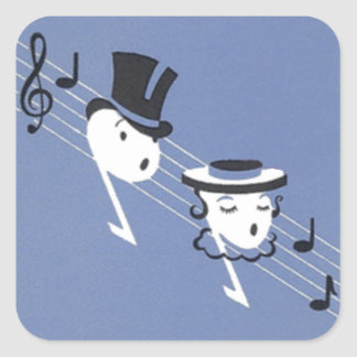 Sticker Anthropomorphic Musical Music Notes Couple