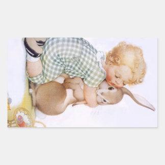 Sticker Antique Adorable rabbit Bunny hugs